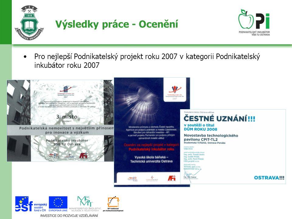Výsledky práce - Ocenění Pro nejlepší Podnikatelský projekt roku 2007 v kategorii Podnikatelský inkubátor roku 2007