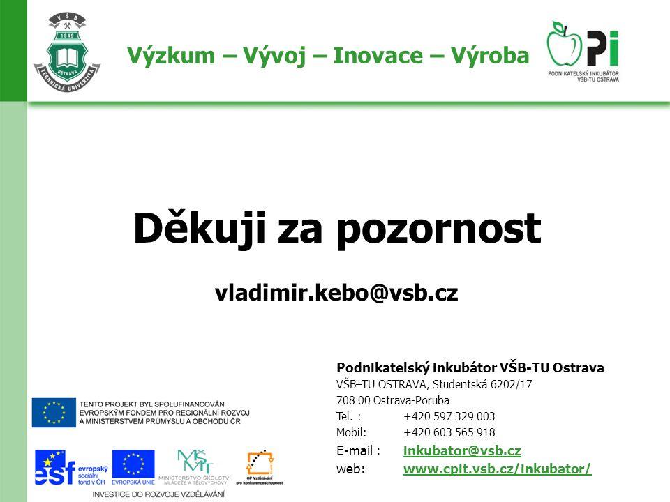 Děkuji za pozornost vladimir.kebo@vsb.cz Podnikatelský inkubátor VŠB-TU Ostrava VŠB–TU OSTRAVA, Studentská 6202/17 708 00 Ostrava-Poruba Tel.