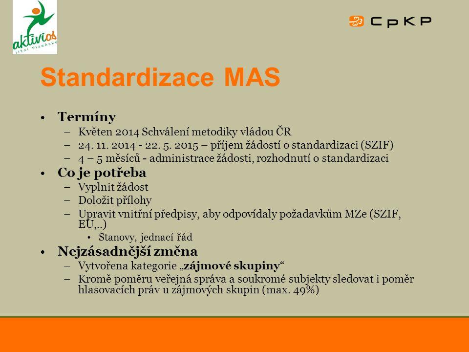 Standardizace MAS Termíny –Květen 2014 Schválení metodiky vládou ČR –24. 11. 2014 - 22. 5. 2015 – příjem žádostí o standardizaci (SZIF) –4 – 5 měsíců