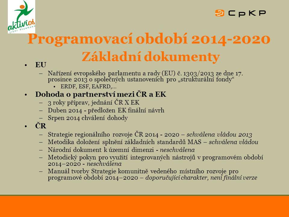 Programovací období 2014-2020 Základní dokumenty EU –Nařízení evropského parlamentu a rady (EU) č. 1303/2013 ze dne 17. prosince 2013 o společných ust
