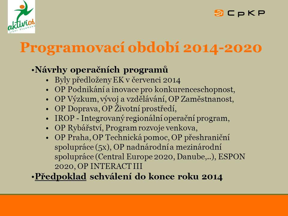 Programovací období 2014-2020 Návrhy operačních programů Byly předloženy EK v červenci 2014 OP Podnikání a inovace pro konkurenceschopnost, OP Výzkum, vývoj a vzdělávání, OP Zaměstnanost, OP Doprava, OP Životní prostředí, IROP - Integrovaný regionální operační program, OP Rybářství, Program rozvoje venkova, OP Praha, OP Technická pomoc, OP přeshraniční spolupráce (5x), OP nadnárodní a mezinárodní spolupráce (Central Europe 2020, Danube,..), ESPON 2020, OP INTERACT III Předpoklad schválení do konce roku 2014
