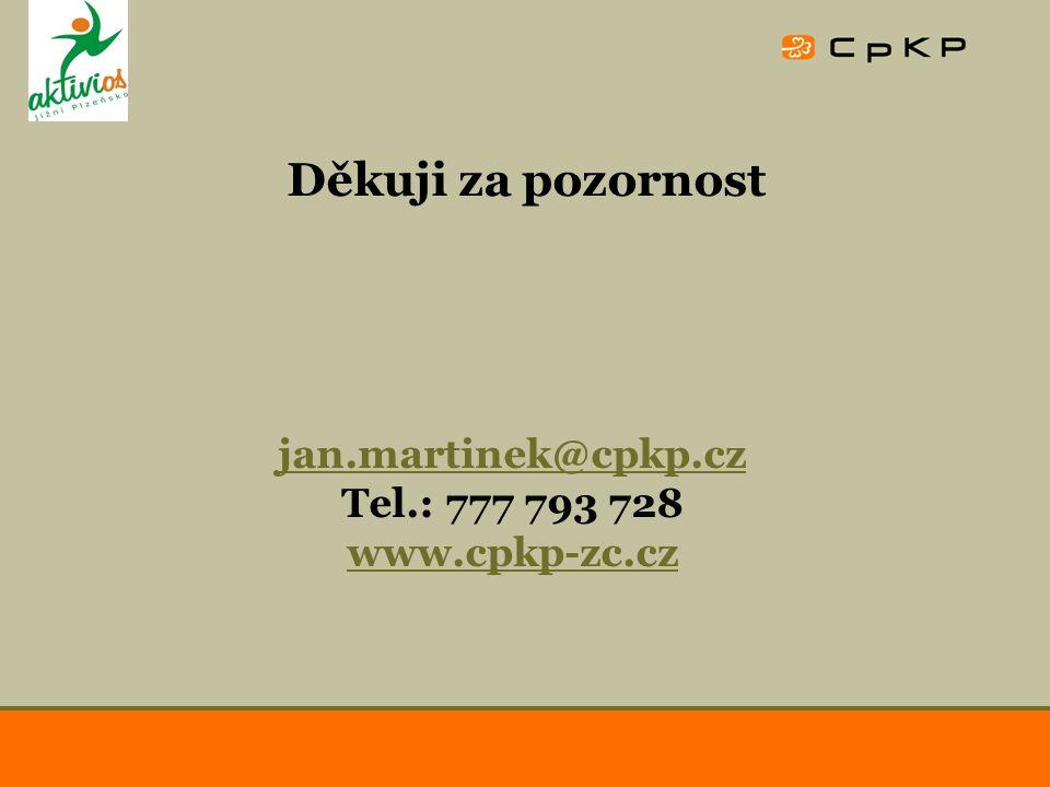 Děkuji za pozornost jan.martinek@cpkp.cz Tel.: 777 793 728 www.cpkp-zc.cz