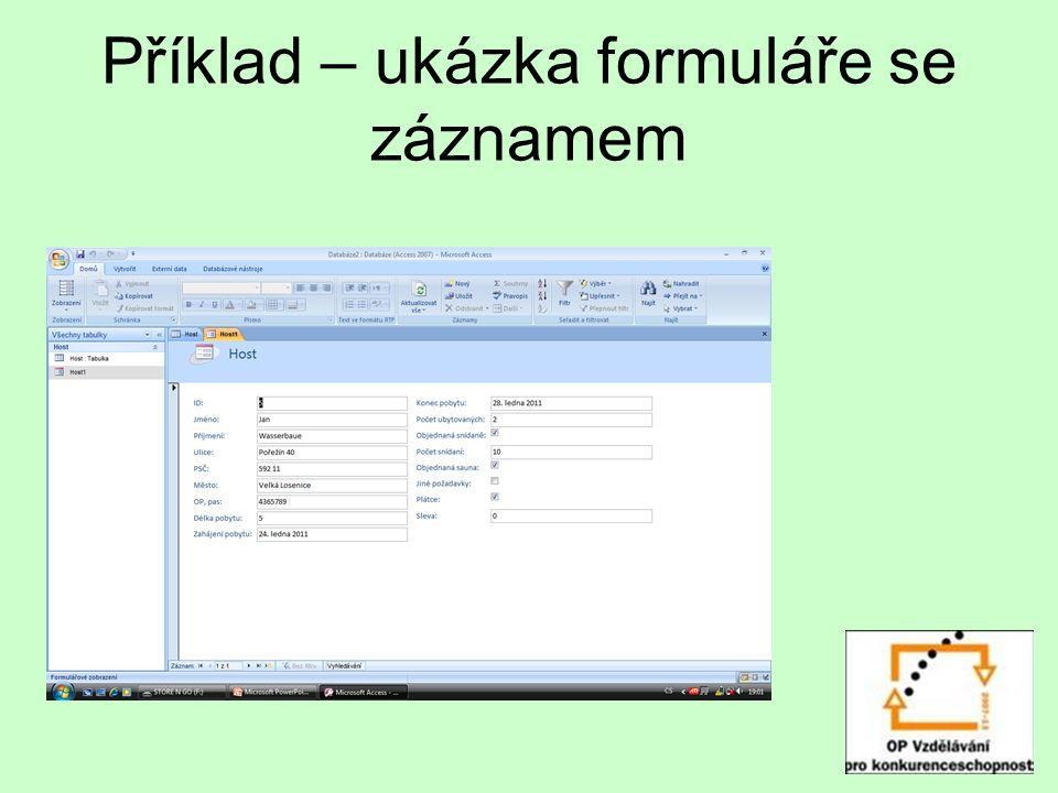 Příklad – ukázka formuláře se záznamem