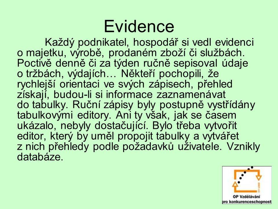 Evidence Každý podnikatel, hospodář si vedl evidenci o majetku, výrobě, prodaném zboží či službách.