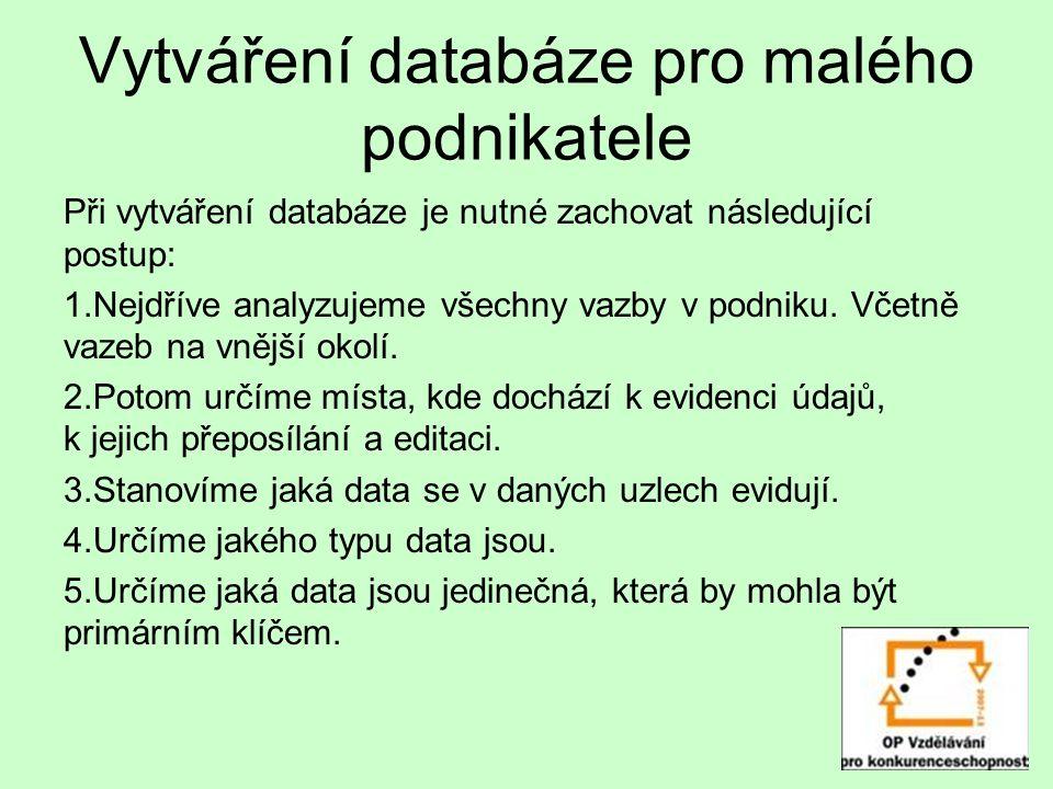 Vytváření databáze pro malého podnikatele Při vytváření databáze je nutné zachovat následující postup: 1.Nejdříve analyzujeme všechny vazby v podniku.