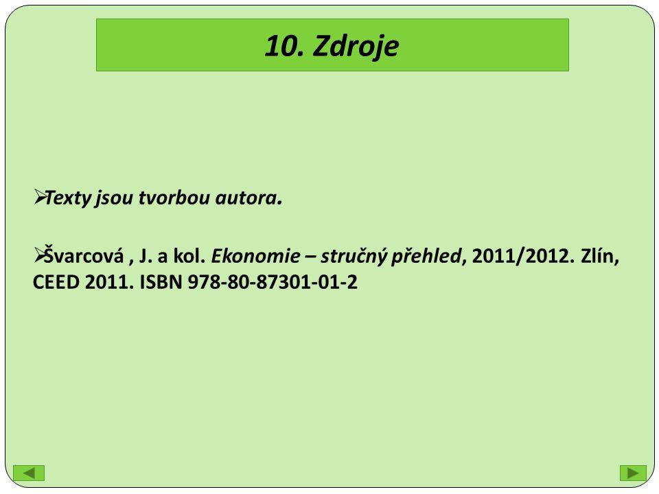 10. Zdroje  Texty jsou tvorbou autora.  Švarcová, J.