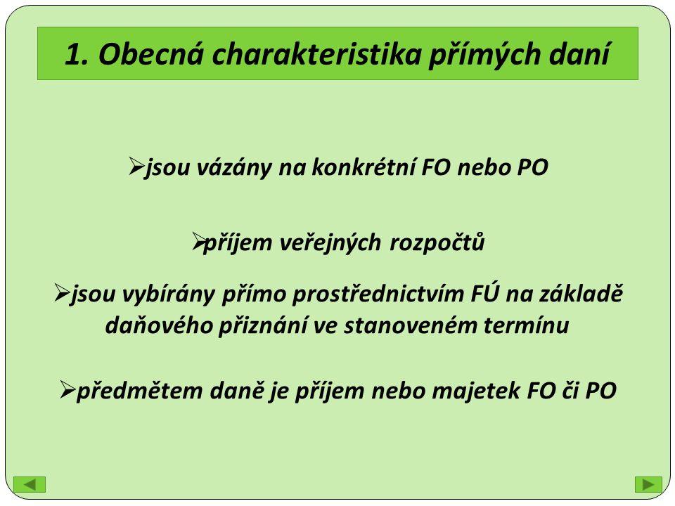 1. Obecná charakteristika přímých daní  jsou vázány na konkrétní FO nebo PO  příjem veřejných rozpočtů  jsou vybírány přímo prostřednictvím FÚ na z