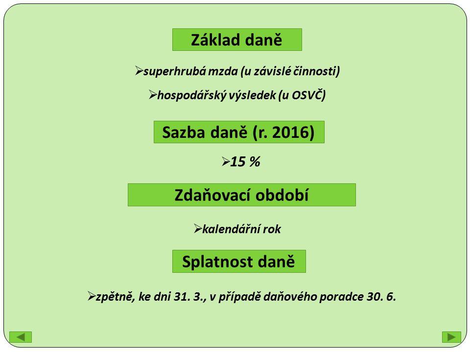 Základ daně Sazba daně (r.