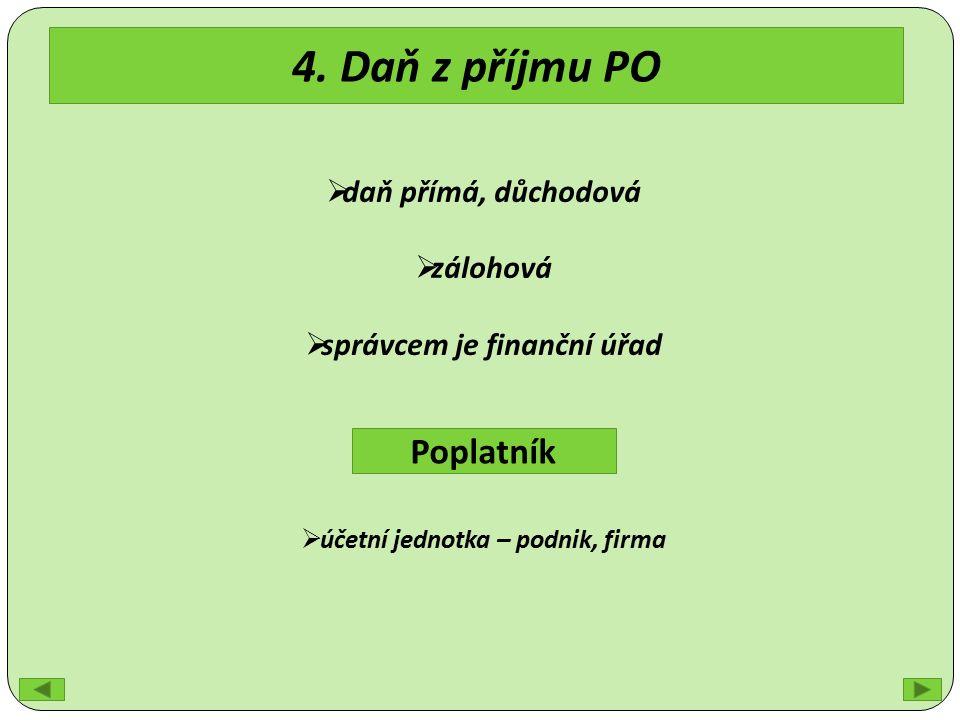 4. Daň z příjmu PO  daň přímá, důchodová  zálohová  správcem je finanční úřad Poplatník  účetní jednotka – podnik, firma