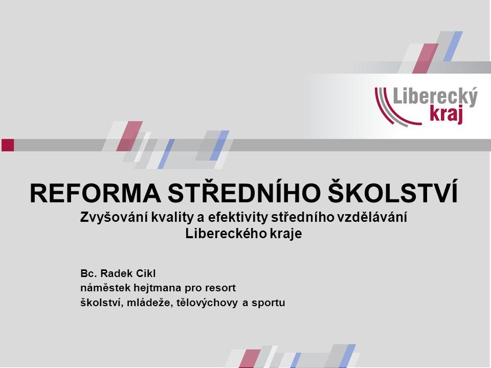 REFORMA STŘEDNÍHO ŠKOLSTVÍ Zvyšování kvality a efektivity středního vzdělávání Libereckého kraje Bc. Radek Cikl náměstek hejtmana pro resort školství,