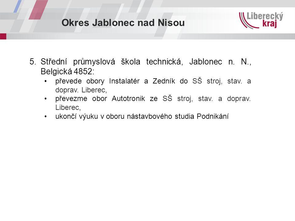 Okres Jablonec nad Nisou 5.Střední průmyslová škola technická, Jablonec n. N., Belgická 4852: převede obory Instalatér a Zedník do SŠ stroj, stav. a d