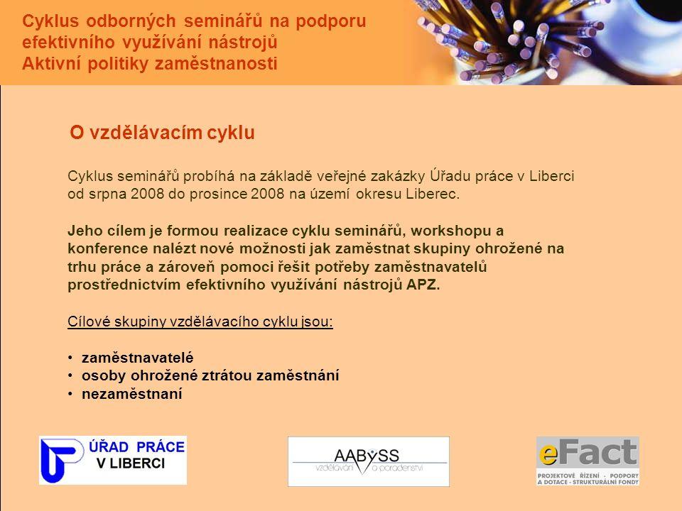 Cyklus odborných seminářů na podporu efektivního využívání nástrojů Aktivní politiky zaměstnanosti O vzdělávacím cyklu Cyklus seminářů probíhá na základě veřejné zakázky Úřadu práce v Liberci od srpna 2008 do prosince 2008 na území okresu Liberec.