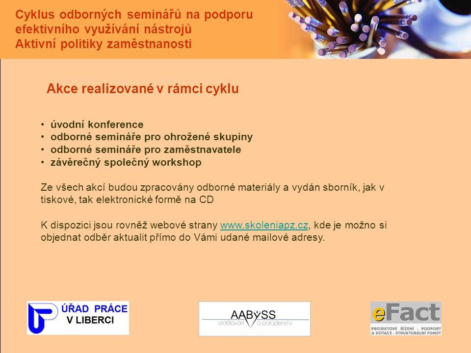 Cyklus odborných seminářů na podporu efektivního využívání nástrojů Aktivní politiky zaměstnanosti Akce realizované v rámci cyklu úvodní konference odborné semináře pro ohrožené skupiny odborné semináře pro zaměstnavatele závěrečný společný workshop Ze všech akcí budou zpracovány odborné materiály a vydán sborník, jak v tiskové, tak elektronické formě na CD K dispozici jsou rovněž webové strany www.skoleniapz.cz, kde je možno si objednat odběr aktualit přímo do Vámi udané mailové adresy.www.skoleniapz.cz