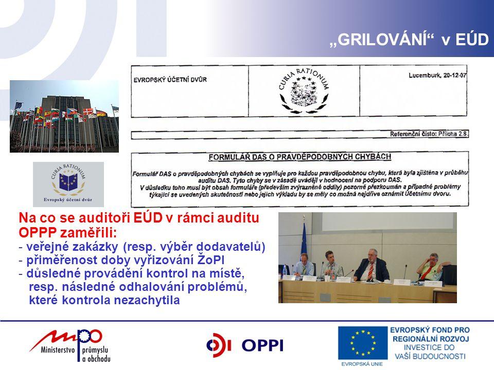 Na co se auditoři EÚD v rámci auditu OPPP zaměřili: - veřejné zakázky (resp.