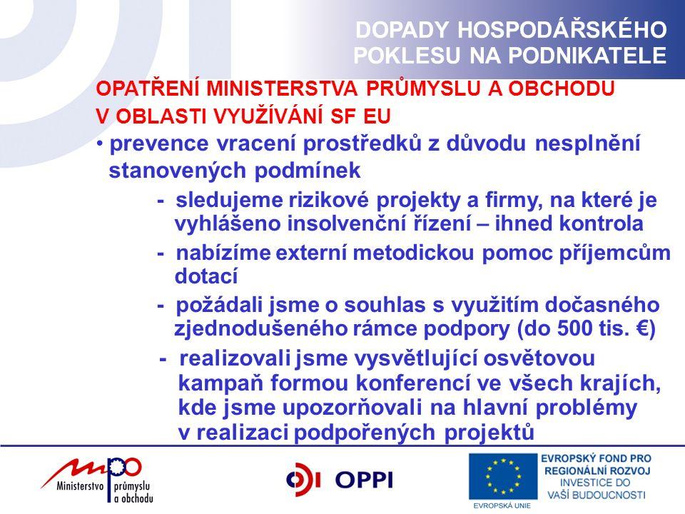 OPATŘENÍ MINISTERSTVA PRŮMYSLU A OBCHODU V OBLASTI VYUŽÍVÁNÍ SF EU prevence vracení prostředků z důvodu nesplnění stanovených podmínek - sledujeme rizikové projekty a firmy, na které je vyhlášeno insolvenční řízení – ihned kontrola - nabízíme externí metodickou pomoc příjemcům dotací - požádali jsme o souhlas s využitím dočasného zjednodušeného rámce podpory (do 500 tis.
