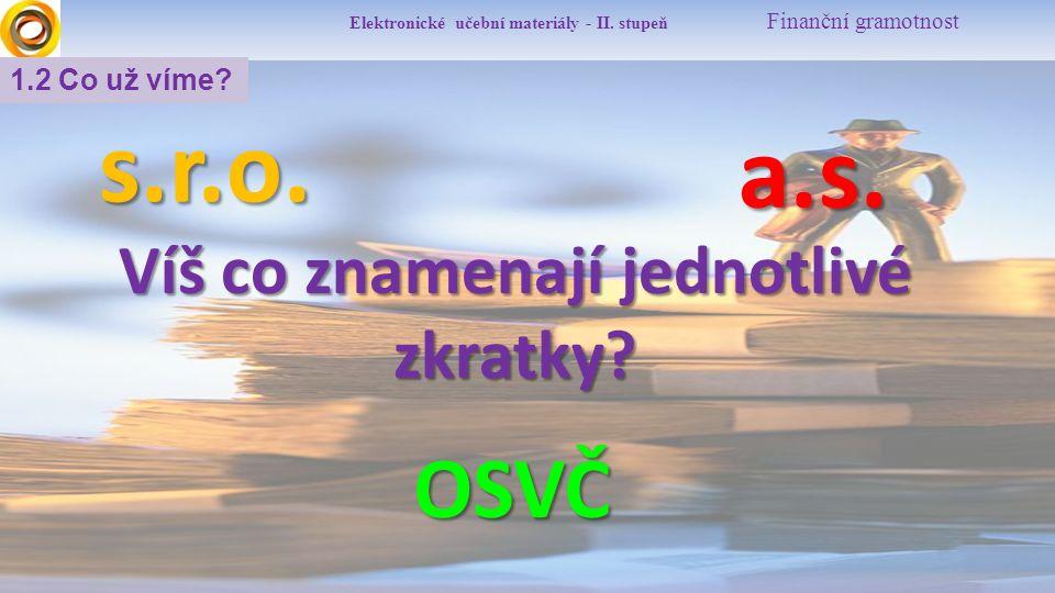 Elektronické učební materiály - II.stupeň Finanční gramotnost 1.2 Co už víme.