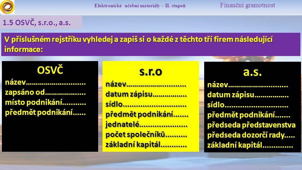 Elektronické učební materiály - II.stupeň Finanční gramotnost 1.5 OSVČ, s.r.o., a.s.