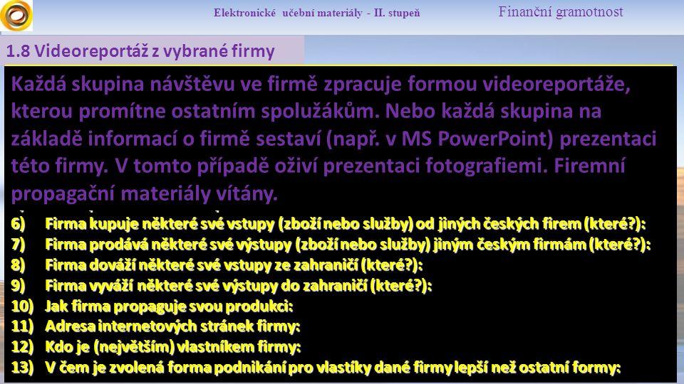 Elektronické učební materiály - II.stupeň Finanční gramotnost 1.9 Zdroje  M.