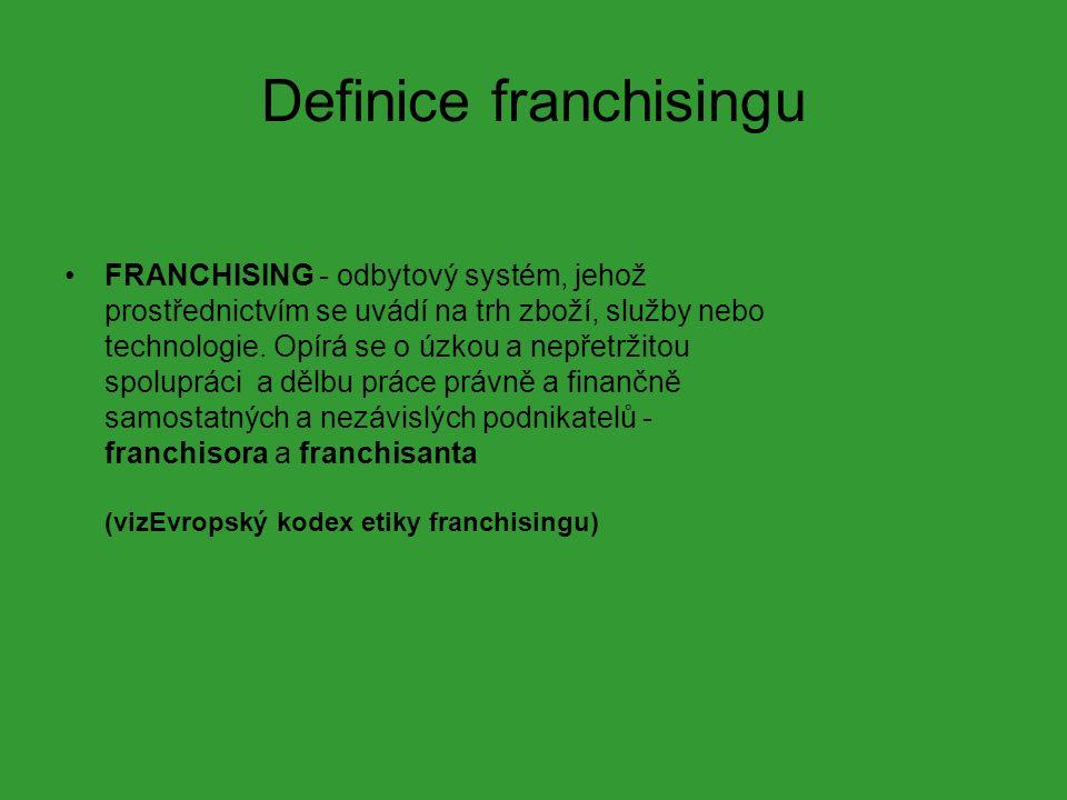 Definice franchisingu FRANCHISING - odbytový systém, jehož prostřednictvím se uvádí na trh zboží, služby nebo technologie.