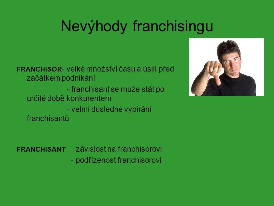 Nevýhody franchisingu FRANCHISOR- velké množství času a úsilí před začátkem podnikání - franchisant se může stát po určité době konkurentem - velmi důsledné vybírání franchisantů FRANCHISANT - závislost na franchisorovi - podřízenost franchisorovi