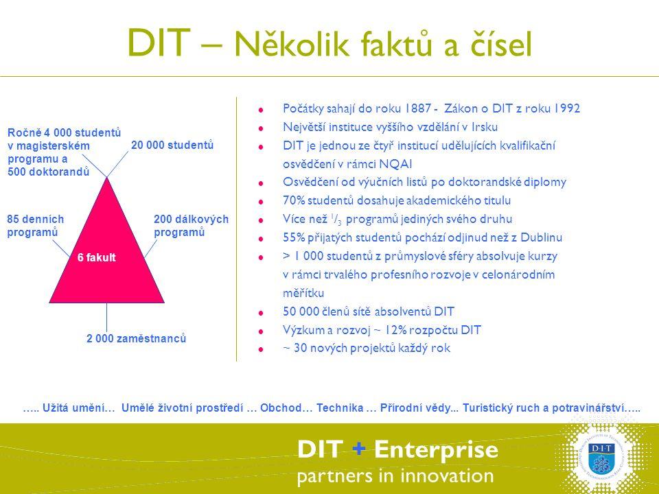 DIT + Enterprise partners in innovation DIT – Několik faktů a čísel  Počátky sahají do roku 1887 - Zákon o DIT z roku 1992  Největší instituce vyššího vzdělání v Irsku  DIT je jednou ze čtyř institucí udělujících kvalifikační osvědčení v rámci NQAI  Osvědčení od výučních listů po doktorandské diplomy  70% studentů dosahuje akademického titulu  Více než 1 / 3 programů jediných svého druhu  55% přijatých studentů pochází odjinud než z Dublinu  > 1 000 studentů z průmyslové sféry absolvuje kurzy v rámci trvalého profesního rozvoje v celonárodním měřítku  50 000 členů sítě absolventů DIT  Výzkum a rozvoj ~ 12% rozpočtu DIT  ~ 30 nových projektů každý rok 200 dálkových programů Ročně 4 000 studentů v magisterském programu a 500 doktorandů 20 000 studentů 85 denních programů 2 000 zaměstnanců 6 fakult …..