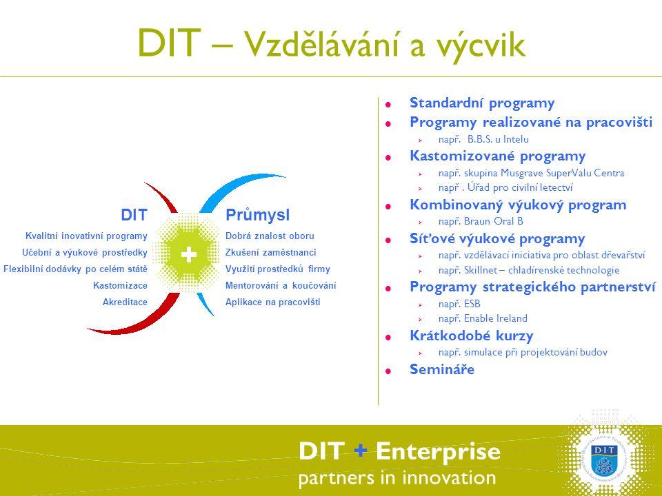 DIT + Enterprise partners in innovation DIT – Vzdělávání a výcvik  Standardní programy  Programy realizované na pracovišti  např.