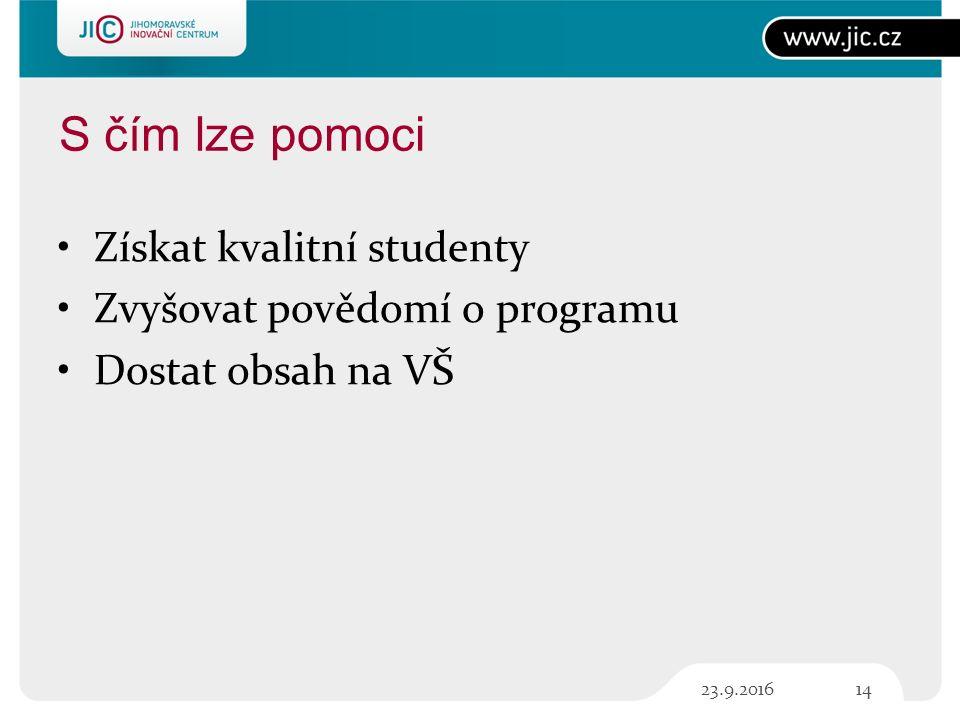 S čím lze pomoci Získat kvalitní studenty Zvyšovat povědomí o programu Dostat obsah na VŠ 1423.9.2016
