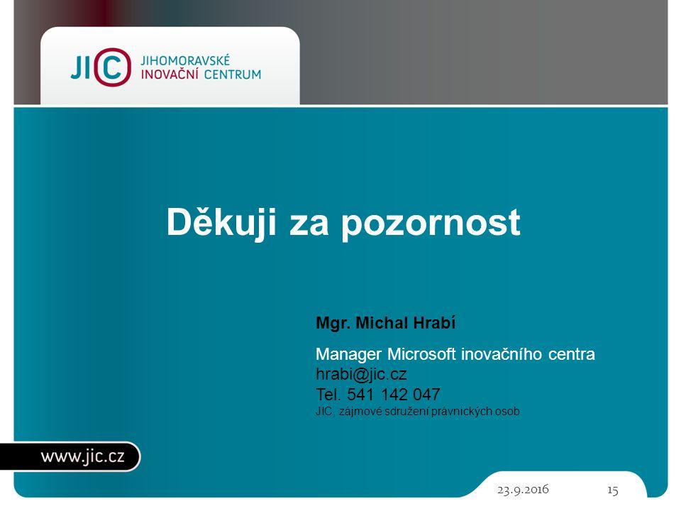 Děkuji za pozornost 23.9.201615 Mgr. Michal Hrabí Manager Microsoft inovačního centra hrabi@jic.cz Tel. 541 142 047 JIC, zájmové sdružení právnických