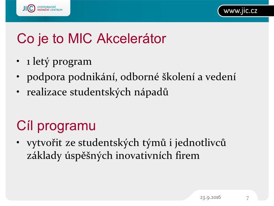 Co je to MIC Akcelerátor 1 letý program podpora podnikání, odborné školení a vedení realizace studentských nápadů Cíl programu vytvořit ze studentských týmů i jednotlivců základy úspěšných inovativních firem 723.9.2016