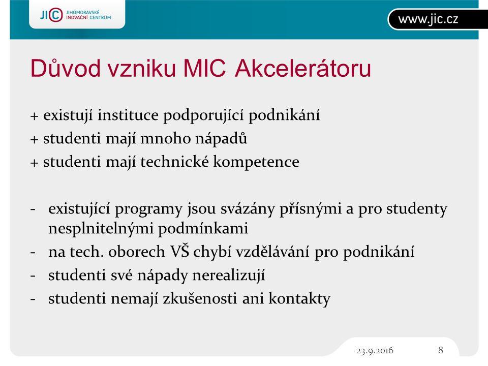 MIC Akcelerátor - přínosy Nové podněty, inspirace Propojení znalostí z různých oborů Vzdělání v oboru managementu Nové podněty, inspirace Vzdělání v oboru managementu Konzultace s odborníky Trénink prezentačních dovedností Zapůjčení hardware, knih Technické konzultace v MS 923.9.2016
