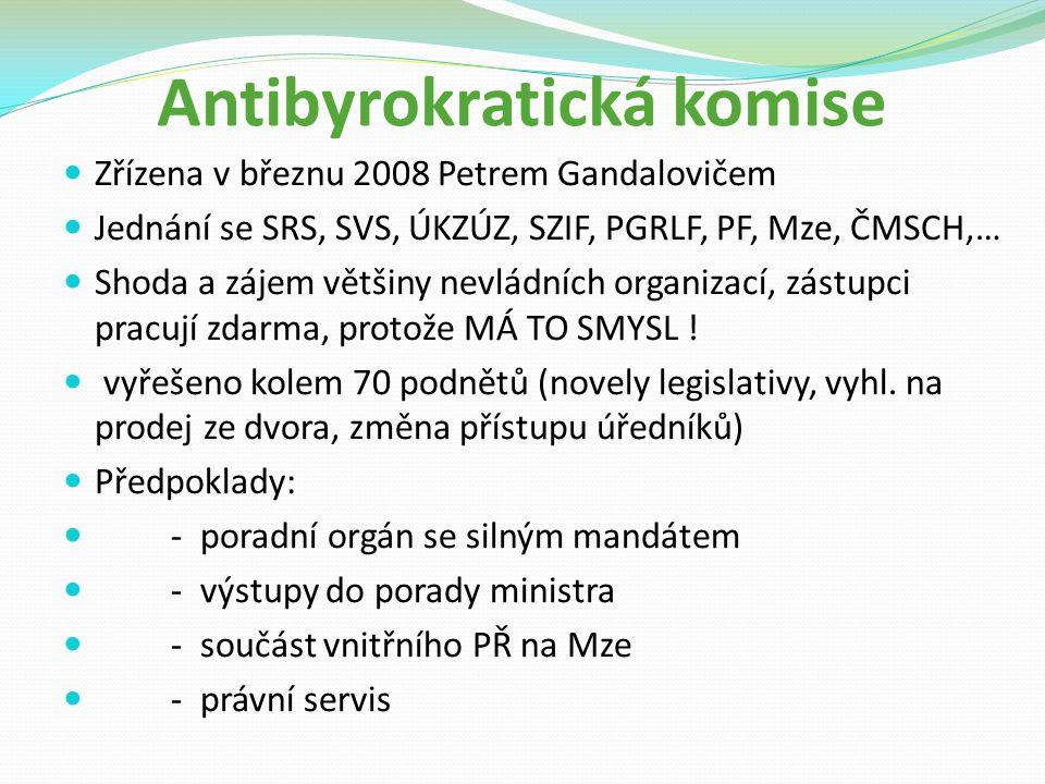 Antibyrokratická komise Zřízena v březnu 2008 Petrem Gandalovičem Jednání se SRS, SVS, ÚKZÚZ, SZIF, PGRLF, PF, Mze, ČMSCH,… Shoda a zájem většiny nevládních organizací, zástupci pracují zdarma, protože MÁ TO SMYSL .