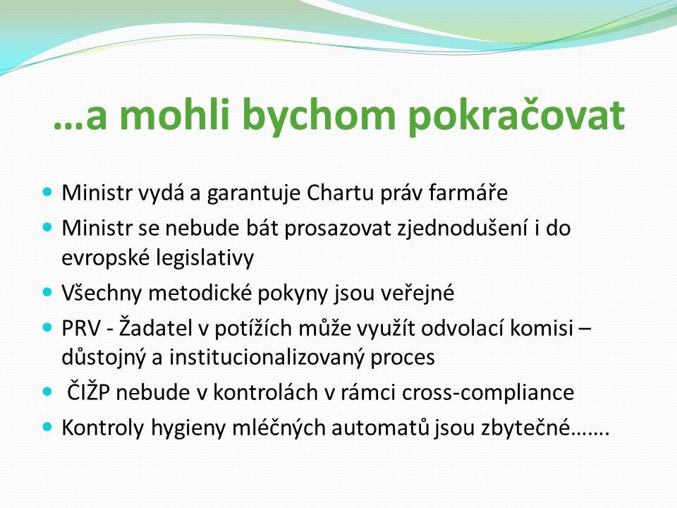 …a mohli bychom pokračovat Ministr vydá a garantuje Chartu práv farmáře Ministr se nebude bát prosazovat zjednodušení i do evropské legislativy Všechny metodické pokyny jsou veřejné PRV - Žadatel v potížích může využít odvolací komisi – důstojný a institucionalizovaný proces ČIŽP nebude v kontrolách v rámci cross-compliance Kontroly hygieny mléčných automatů jsou zbytečné…….