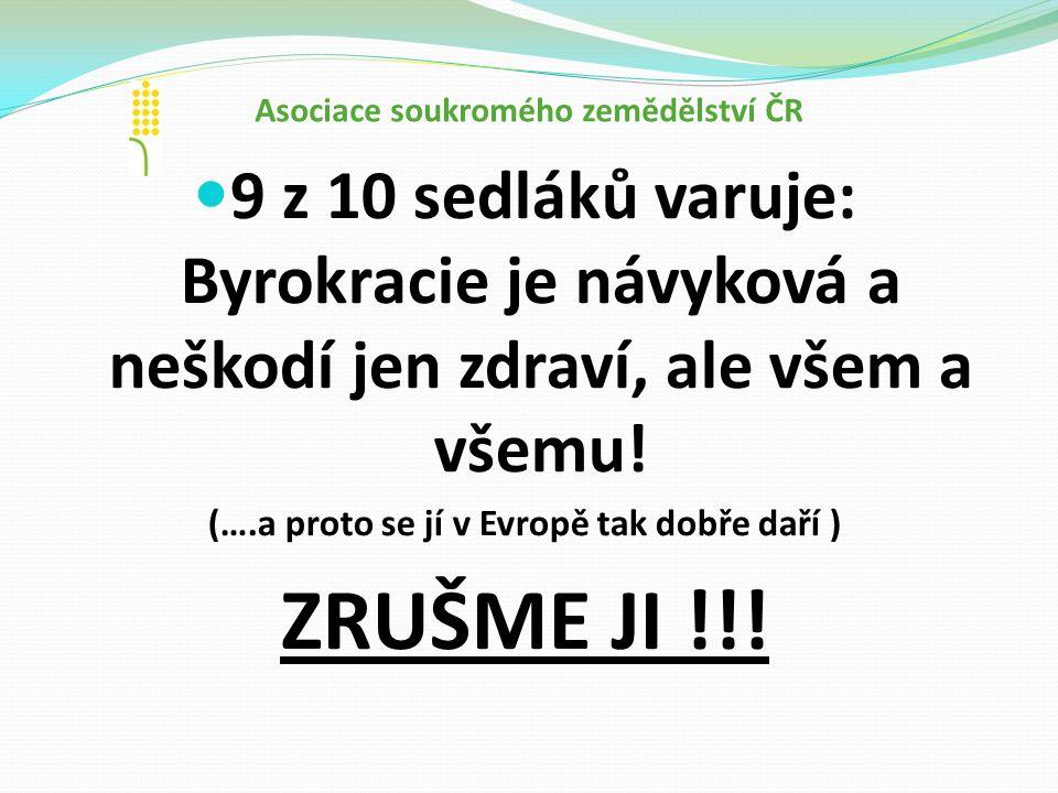 Asociace soukromého zemědělství ČR 9 z 10 sedláků varuje: Byrokracie je návyková a neškodí jen zdraví, ale všem a všemu.