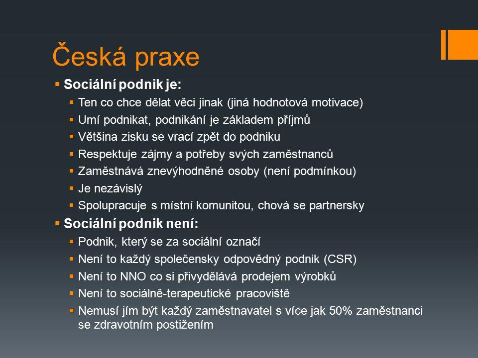 Česká praxe  Sociální podnik je:  Ten co chce dělat věci jinak (jiná hodnotová motivace)  Umí podnikat, podnikání je základem příjmů  Většina zisku se vrací zpět do podniku  Respektuje zájmy a potřeby svých zaměstnanců  Zaměstnává znevýhodněné osoby (není podmínkou)  Je nezávislý  Spolupracuje s místní komunitou, chová se partnersky  Sociální podnik není:  Podnik, který se za sociální označí  Není to každý společensky odpovědný podnik (CSR)  Není to NNO co si přivydělává prodejem výrobků  Není to sociálně-terapeutické pracoviště  Nemusí jím být každý zaměstnavatel s více jak 50% zaměstnanci se zdravotním postižením