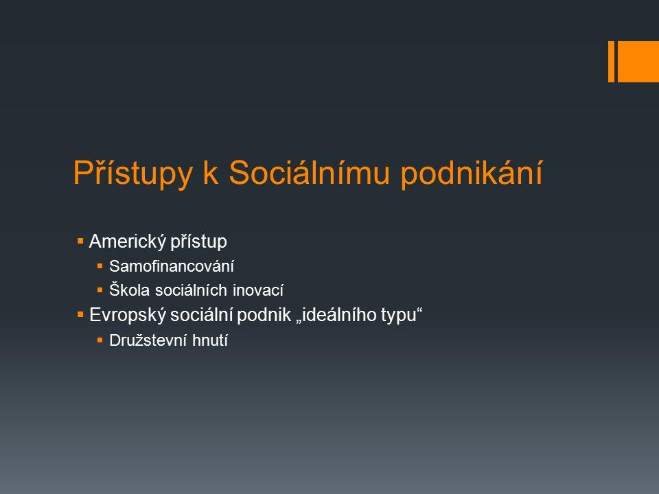 """Přístupy k Sociálnímu podnikání  Americký přístup  Samofinancování  Škola sociálních inovací  Evropský sociální podnik """"ideálního typu  Družstevní hnutí"""