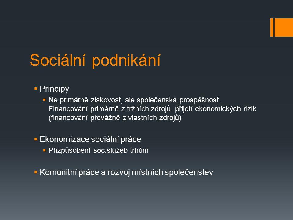 Sociální podnikání  Principy  Ne primárně ziskovost, ale společenská prospěšnost. Financování primárně z tržních zdrojů, přijetí ekonomických rizik