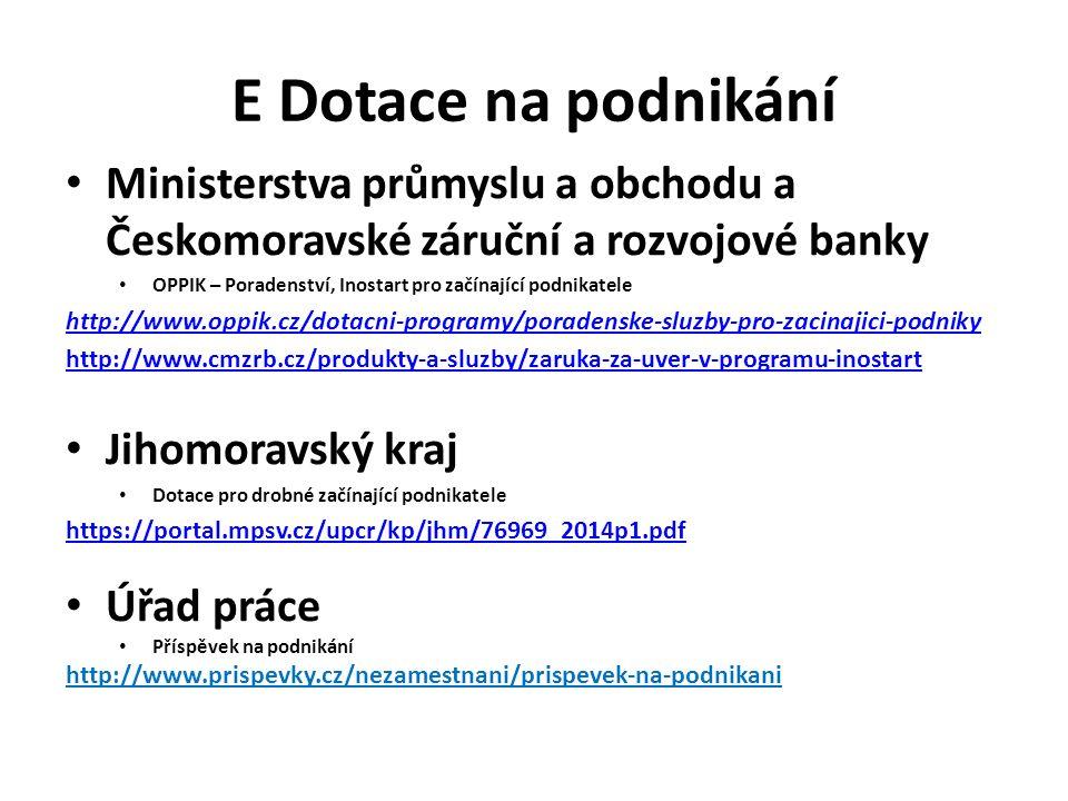 E Dotace na podnikání Ministerstva průmyslu a obchodu a Českomoravské záruční a rozvojové banky OPPIK – Poradenství, Inostart pro začínající podnikatele http://www.oppik.cz/dotacni-programy/poradenske-sluzby-pro-zacinajici-podniky http://www.cmzrb.cz/produkty-a-sluzby/zaruka-za-uver-v-programu-inostart Jihomoravský kraj Dotace pro drobné začínající podnikatele https://portal.mpsv.cz/upcr/kp/jhm/76969_2014p1.pdf Úřad práce Příspěvek na podnikání http://www.prispevky.cz/nezamestnani/prispevek-na-podnikani