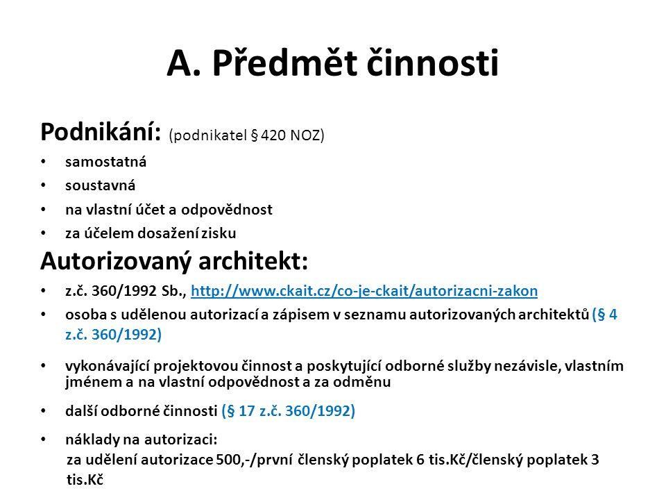 Podnikání: (podnikatel § 420 NOZ) samostatná soustavná na vlastní účet a odpovědnost za účelem dosažení zisku Autorizovaný architekt: z.č.