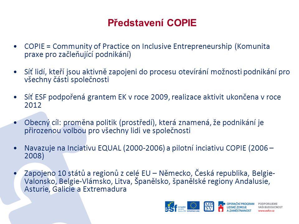 Představení COPIE COPIE = Community of Practice on Inclusive Entrepreneurship (Komunita praxe pro začleňující podnikání) Síť lidí, kteří jsou aktivně zapojeni do procesu otevírání možnosti podnikání pro všechny části společnosti Síť ESF podpořená grantem EK v roce 2009, realizace aktivit ukončena v roce 2012 Obecný cíl: proměna politik (prostředí), která znamená, že podnikání je přirozenou volbou pro všechny lidi ve společnosti Navazuje na Inciativu EQUAL (2000-2006) a pilotní inciativu COPIE (2006 – 2008) Zapojeno 10 států a regionů z celé EU – Německo, Česká republika, Belgie- Valonsko, Belgie-Vlámsko, Litva, Španělsko, španělské regiony Andalusie, Asturie, Galicie a Extremadura