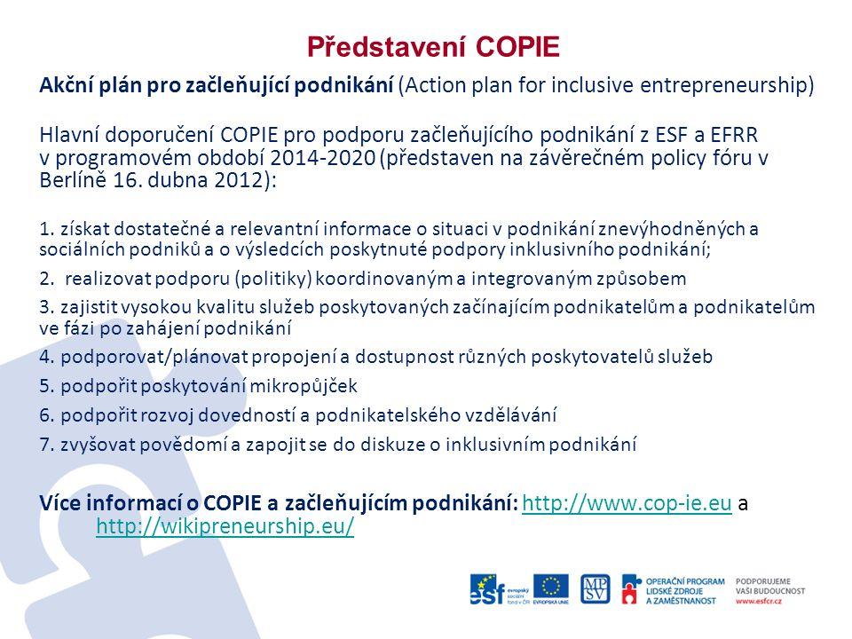 Představení COPIE Akční plán pro začleňující podnikání (Action plan for inclusive entrepreneurship) Hlavní doporučení COPIE pro podporu začleňujícího podnikání z ESF a EFRR v programovém období 2014-2020 (představen na závěrečném policy fóru v Berlíně 16.