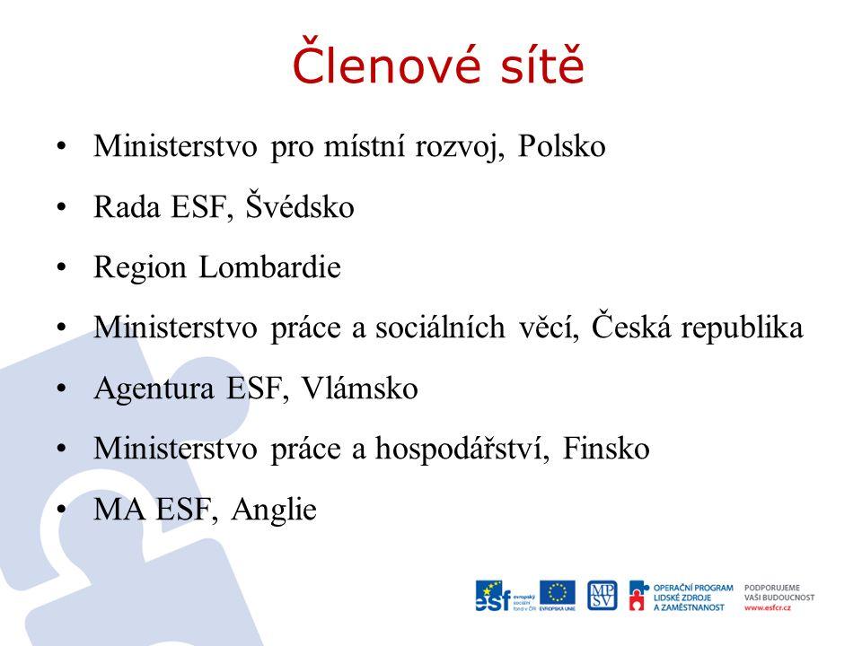 Členové sítě Ministerstvo pro místní rozvoj, Polsko Rada ESF, Švédsko Region Lombardie Ministerstvo práce a sociálních věcí, Česká republika Agentura ESF, Vlámsko Ministerstvo práce a hospodářství, Finsko MA ESF, Anglie