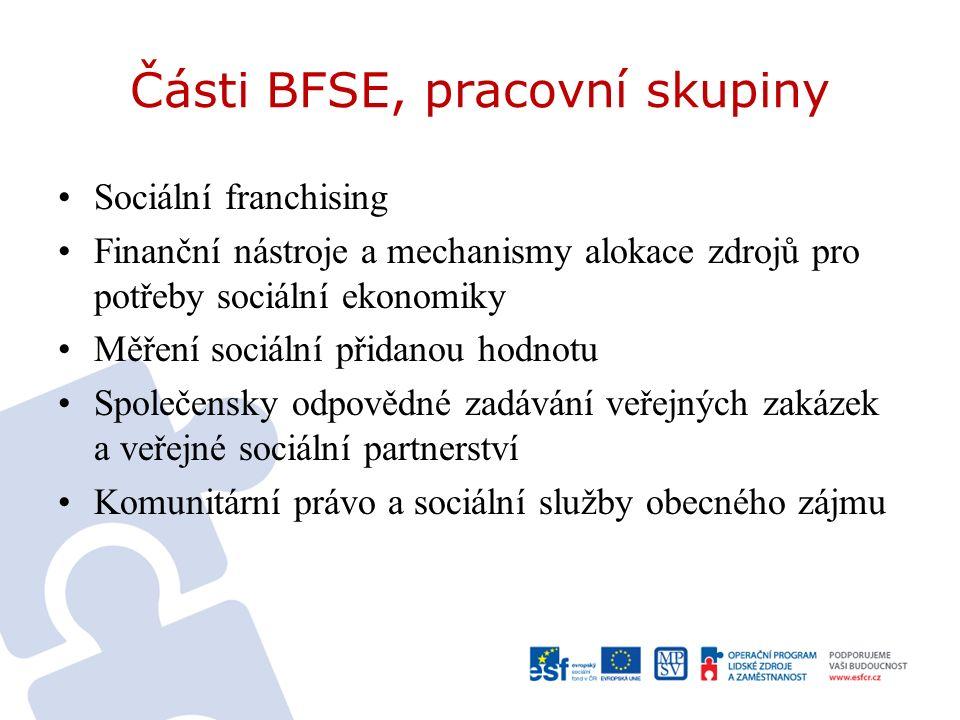 Části BFSE, pracovní skupiny Sociální franchising Finanční nástroje a mechanismy alokace zdrojů pro potřeby sociální ekonomiky Měření sociální přidanou hodnotu Společensky odpovědné zadávání veřejných zakázek a veřejné sociální partnerství Komunitární právo a sociální služby obecného zájmu
