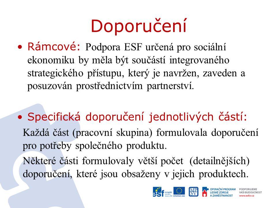 Doporučení Rámcové: Podpora ESF určená pro sociální ekonomiku by měla být součástí integrovaného strategického přístupu, který je navržen, zaveden a posuzován prostřednictvím partnerství.