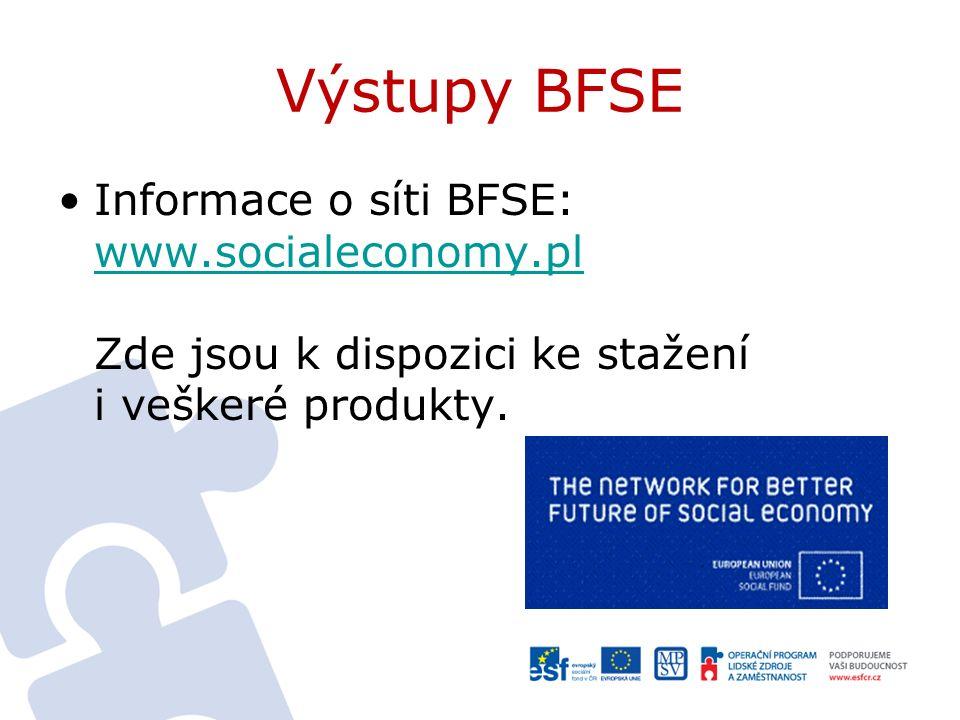 Výstupy BFSE Informace o síti BFSE: www.socialeconomy.pl Zde jsou k dispozici ke stažení i veškeré produkty.