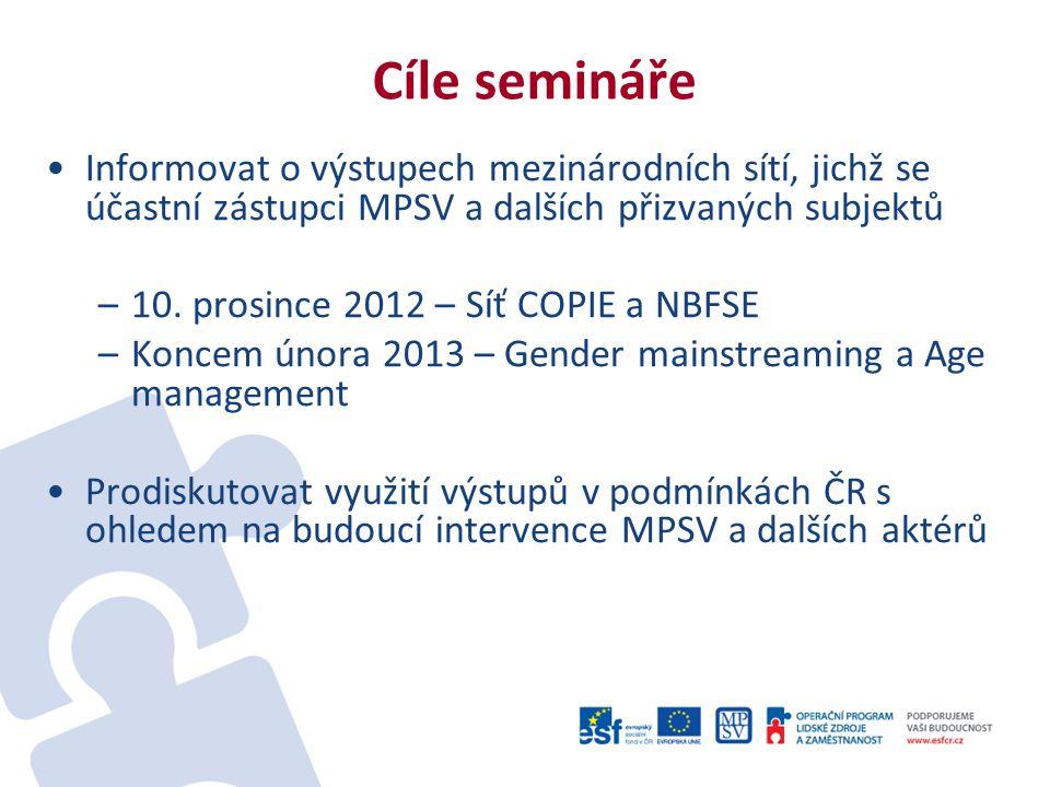 Cíle semináře Informovat o výstupech mezinárodních sítí, jichž se účastní zástupci MPSV a dalších přizvaných subjektů –10.