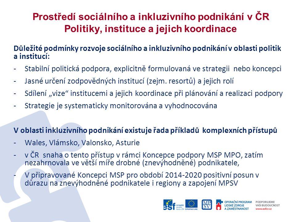 Prostředí sociálního a inkluzivního podnikání v ČR Politiky, instituce a jejich koordinace Důležité podmínky rozvoje sociálního a inkluzivního podnikání v oblasti politik a institucí: -Stabilní politická podpora, explicitně formulovaná ve strategii nebo koncepci -Jasné určení zodpovědných institucí (zejm.
