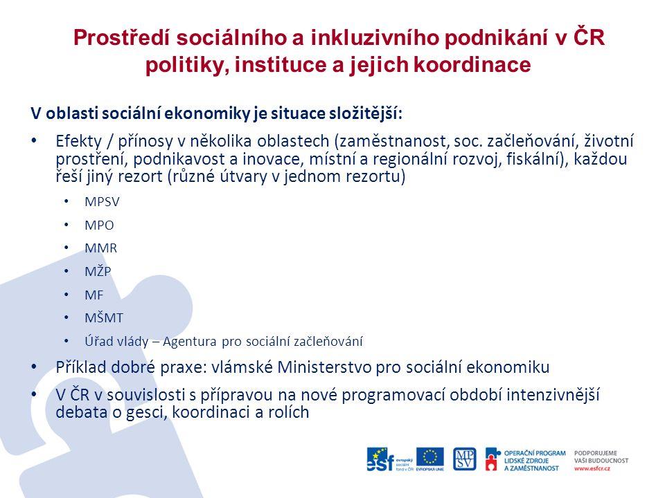 Prostředí sociálního a inkluzivního podnikání v ČR politiky, instituce a jejich koordinace V oblasti sociální ekonomiky je situace složitější: Efekty / přínosy v několika oblastech (zaměstnanost, soc.