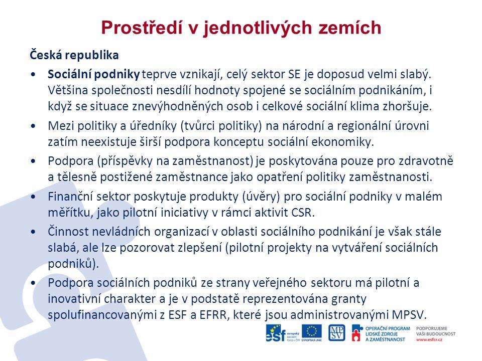 Prostředí v jednotlivých zemích Česká republika Sociální podniky teprve vznikají, celý sektor SE je doposud velmi slabý.