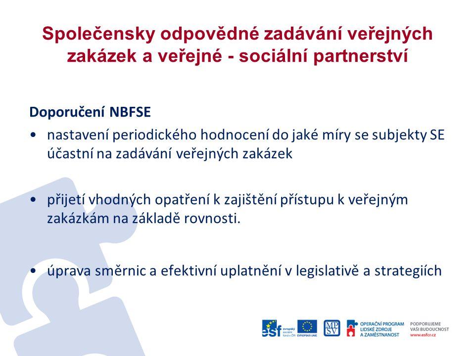 Společensky odpovědné zadávání veřejných zakázek a veřejné - sociální partnerství Doporučení NBFSE nastavení periodického hodnocení do jaké míry se subjekty SE účastní na zadávání veřejných zakázek přijetí vhodných opatření k zajištění přístupu k veřejným zakázkám na základě rovnosti.