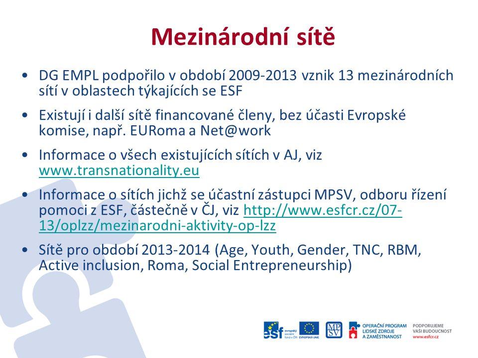 Mezinárodní sítě DG EMPL podpořilo v období 2009-2013 vznik 13 mezinárodních sítí v oblastech týkajících se ESF Existují i další sítě financované členy, bez účasti Evropské komise, např.